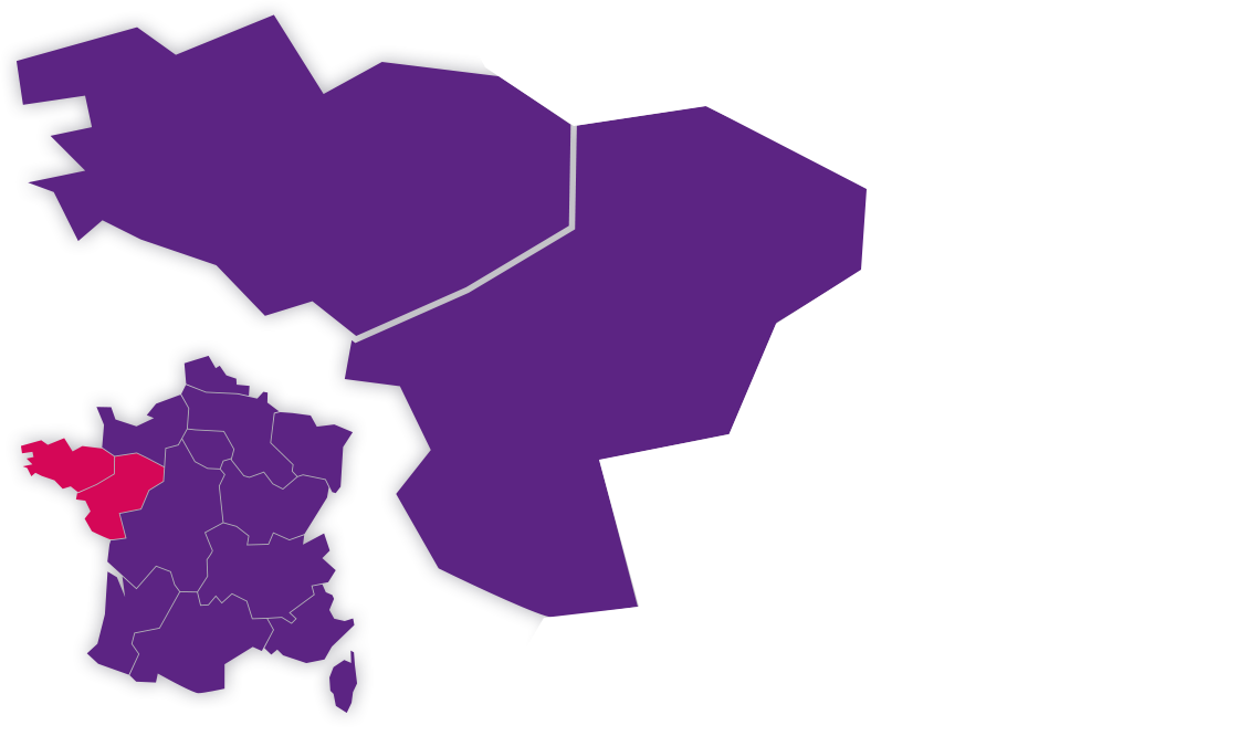 Carte France et Bretagne